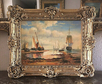 Antique Style Maritime Oil Painting European Ship Vessels in Bay Signed Framed