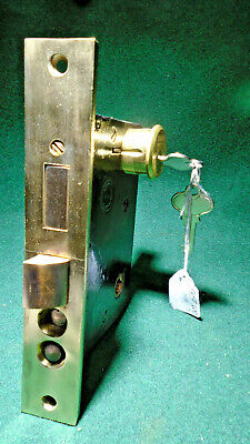 "1931 READING HARDWARE #1600 MORTISE LOCK w/CYLINDER & KEYS  2 3/4"" BS (12620)"