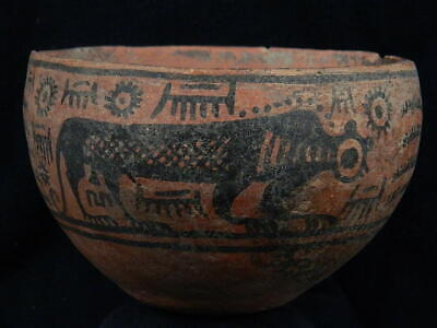 Ancient Large Size Teracotta Painted Bowl With Lions Indus Valley 2500 BC #PT587