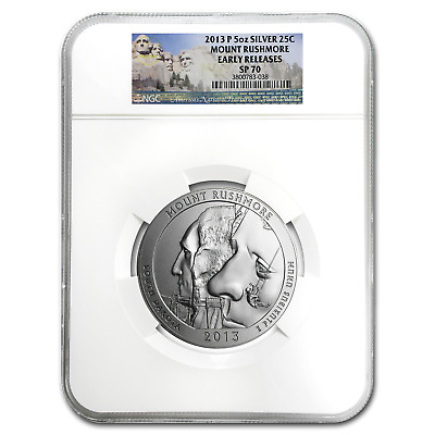 2013-P 5 oz Silver ATB Mount Rushmore SP-70 NGC (Early Release) - SKU #102156
