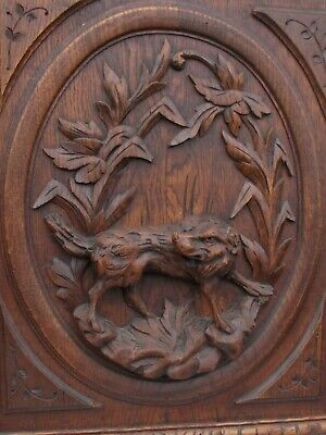 Tall French Antique Carved Panel/Door in oak Wood hunting dog 19th.c
