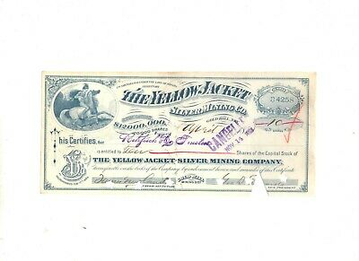 Gold Hill,  Nevada, Stock Certificate, Yellow Jacket Silver Mining Company  1888