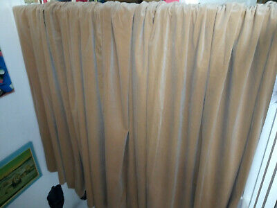 "Huge Pair of Vintage Nude / Fawn Velvet Curtains 88"" x 72"""