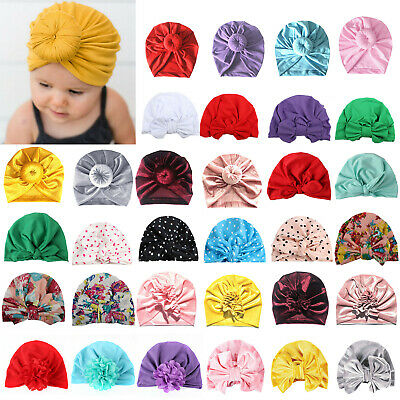 Newborn Baby Girls Boy Kids Bow Knot Floral Turban Head Wrap Ear Cap Beanie Hats
