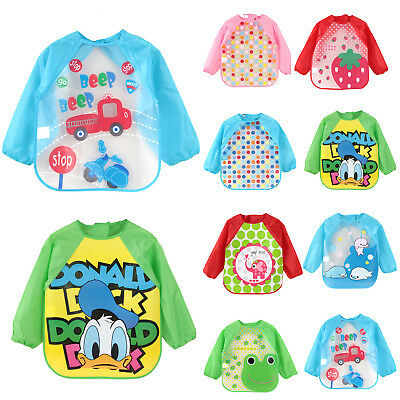 Toddler Baby Kids Long Sleeve Waterproof Feeding Apron Bibs Smock Wipe Clothes