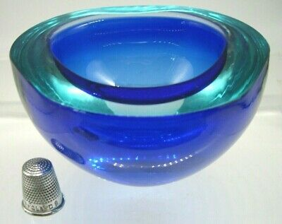 Stunning colour vintage Murano sommerso cased glass geode bowl Seguso