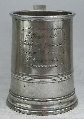 Fine Antique Pewter Quart Tankard Measure Mug By Watkins – Cobholm Arms Yarmouth