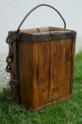 Old Antique Primitive Wooden Bucket Barrel Angular Shaped with Chain about 1800
