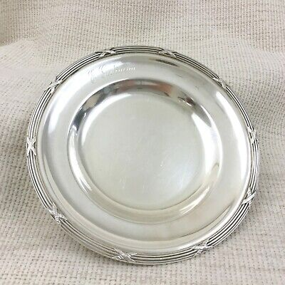 Antique French Silver Plated Tray Rubans Ribbon Reed Catchall Coin Desk Dish