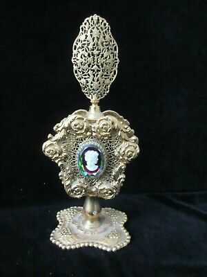 ANTIQUE FRENCH VANITY FILIGREE BRASS & GLASS CAMEO PERFUME BOTTLE cw STOPPER
