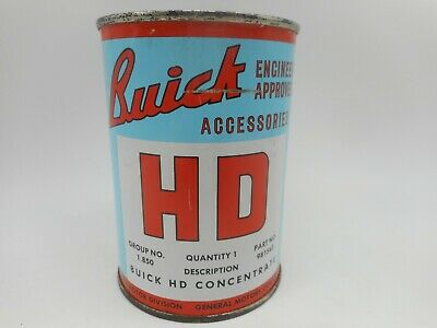 Vintage BUICK HD CONCENTRATE Motor Oil Gas Station Tin Advertising FULL CAN