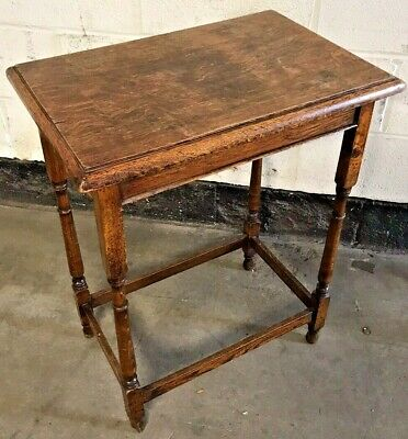 Old Antique Solid Oak Side Table - Occasional Side End Hall Lamp Table