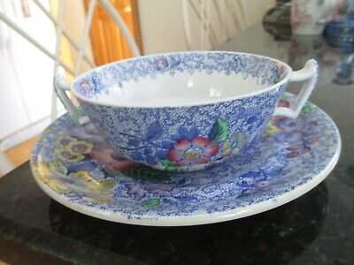 """6pc Copeland Spode """"Wild Flower Blue"""" Footed Cream Soup Bowls & Underplates  HTF"""