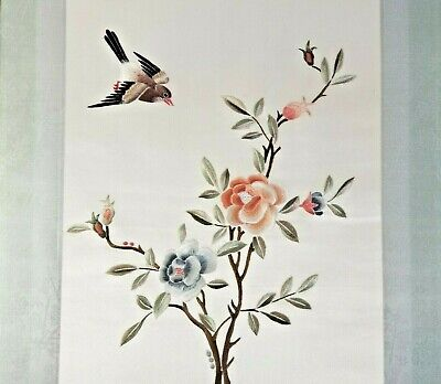 Antique CHINESE EMBROIDERY From Silk Robe FLOWERING TREE BIRD COA CH'ING Dynasty
