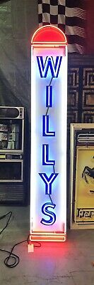 AMAZING Large WILLYS Car Dealership NEON Sign STORE DISPLAY Garage Man Cave item