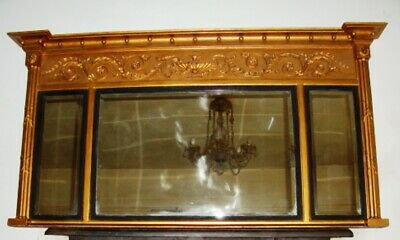 An Early 19Th Century, Adam Style, Gilt Wood, Triple Panel Overmantle Mirror.