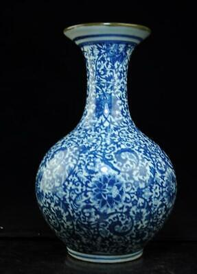 Chinese antique hand-made Blue and White porcelain vase / qianlong mark c01