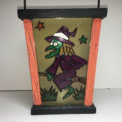 Halloween Lantern with Pumpkin Witch Stained Glass Look Candle