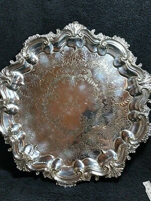 Stunning Victorian Silver Plated Salver / Tray 32cm
