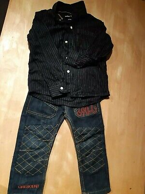 3-4 Years Boys Outfit Dress Shirt Jeans 2 Piece