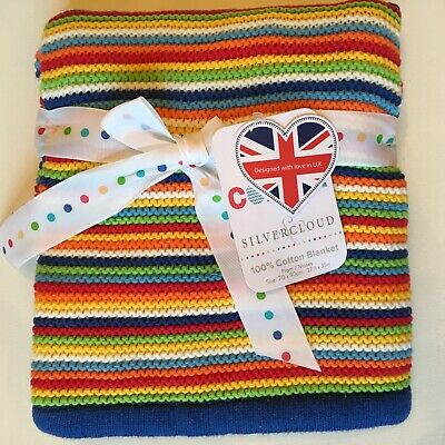 Silver Cloud Cotton Knit Baby Blanket Primary Colors Stripes NEW