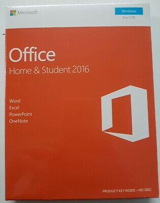 MS Office 2016 Home and Student license FOR 1 PC - Windows Retail Factory Sealed