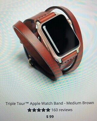 Arrow & Board Triple Tour Leather Apple 4 Watch Band - 38/40 mm Medium Brown