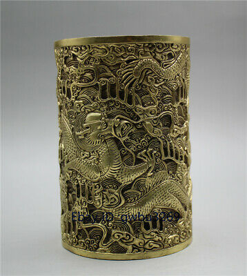 Exquisite Old CHINESE HANDWORK CARVED FISH /& LOTUS FLOWER BRASS BRUSH POT YT