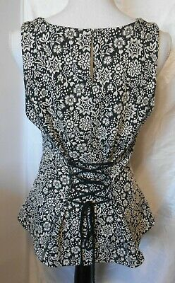 Victorian Style Black White Dress Shirt Corset Lace Up Back Floral Anthropologie