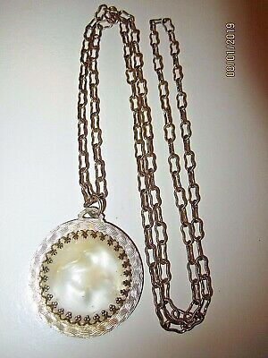 VTG Victorian Ornate Etched Faux Mother of Pearl Estate Pendant Necklace 30""