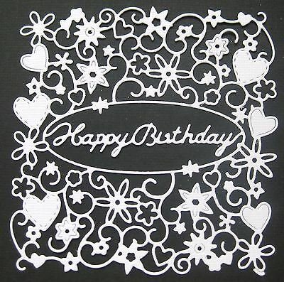 CHOICE OF COLOUR & CARD.....4 x Square Happy Birthday Die Cuts. Scrapbooking