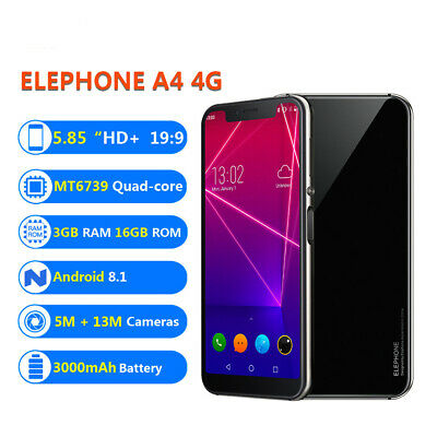 "Elephone A4 4G Smartphone 5.85"" Quad-Core Android 8.1 3GB 16GB Face ID 3000mAh"