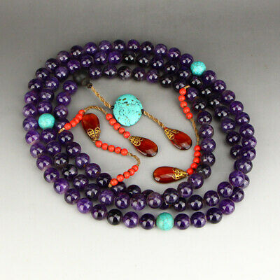 Vintage Chinese Purple Crystal & Turquoise Court Beads Necklace