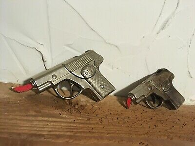 Lot Of 2 VINTAGE POLICE CHIEF TOY CAP GUN cast iron die cast child dick tracy