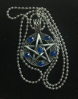 Pentagram Necklace Silver with Blue Rhinestones, Wiccan, Pagan, Occult