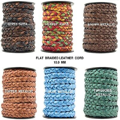 Xsotica® Flat Braided Leather Cord 10mm 1 Yard