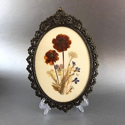 """Vintage Italy Antique Brass Ornate 9"""" Oval Picture Frame Italy Rococo Regency"""