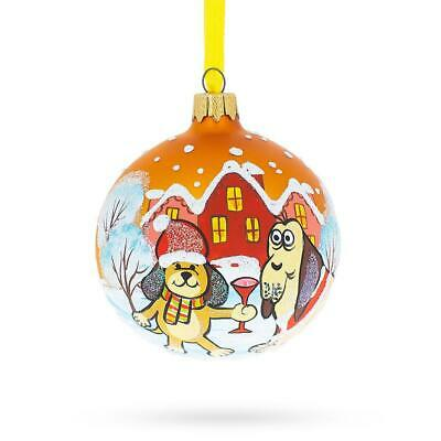 Smiling Rottweiler Dog Glass Ball Christmas Ornament 4 Inches
