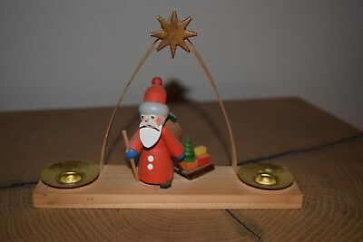 Old Table Candlestick Santa Claus in Original Packaging - Erzgebirge (655-17)