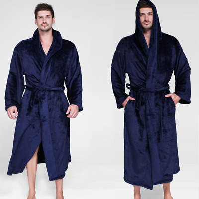 Mens Womens Fleece Long Hooded Bath Robe Thickness Dressing Gown Robe 70-165KG