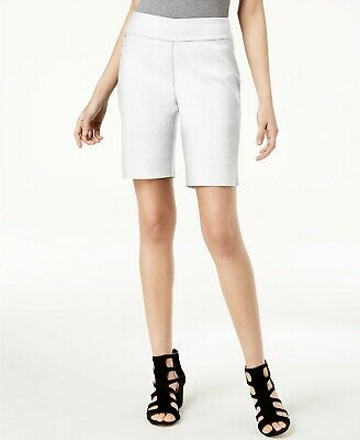 INC Womens Curvy-Fit Stud-Trim Bermuda Shorts Bright White