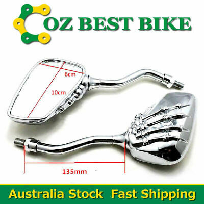 8mm & 10mm Universal Motorcycle Chrome Skeleton Skull Claw Rearview Mirrors