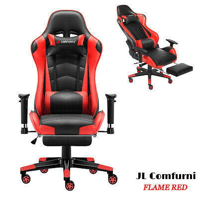 JL Comfurni Executive Racing Gaming Home Office Chair Swivel Recliner Leather