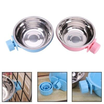 Hang-on Metal For Pet Dog Cat Crate Cage Food Water Bowl Stainless Steel BJvt