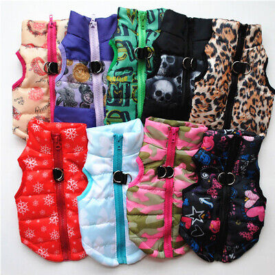 Small Pet Dog Warm Padded Vest Coat Puppy Cat Jumper Jacket Outwear Clothes CHF
