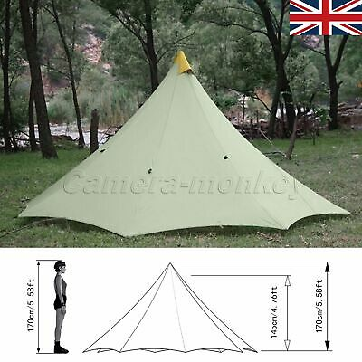 UK SELLER Outdoor Camping Tent 2-4 Person 4 Season Windproof Ropes Greyish-green