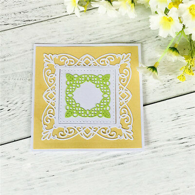 Square Hollow Lace Metal Cutting Dies For Diy Scrapbooking Album Paper Card JD
