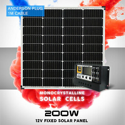 12V 200W Solar Panel Kit Mono Fixed Camping Carava 20A Controller Charging USB