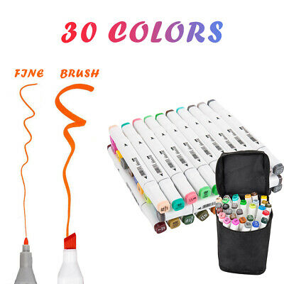 30 Colors Marker Pens Set with Carry Case Sided Markers Paint Pens