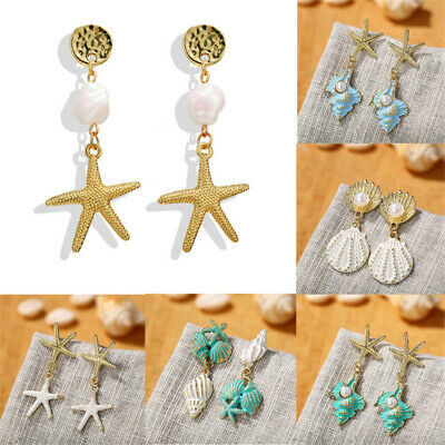 2019 Charm Fashion Women Pearl Seashell Starfish Dangle Drop Earrings Jewelry